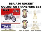 BSA A10 Rocket Goldstar 1962 to 1963 Transfer Decal Set